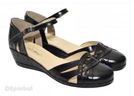 Pantofi dama piele naturala negri cu bareta cod P19 - Made in Romania