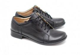 Pantofi dama piele naturala negri cu siret cod P92N