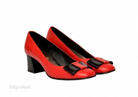 Pantofi dama rosii cu toc aplicat din piele naturala cod P354