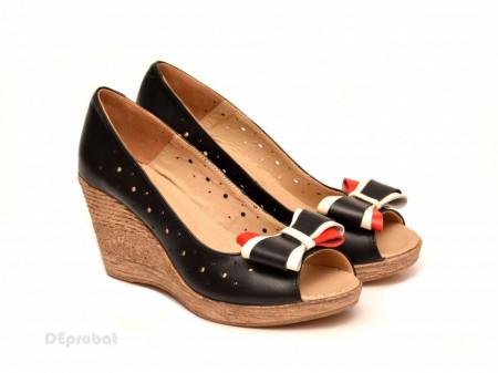 Poze Pantofi negri dama eleganti - casual din piele naturala cod P193