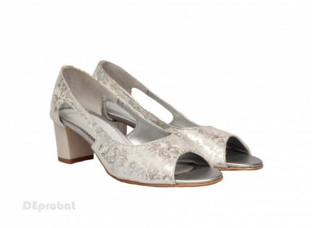Sandale argintii dama din piele naturala toc 5 cm cod S304