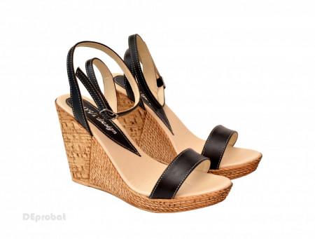 Sandale dama negre cu platforma de 10,5 cm cm din piele naturala cod S53N