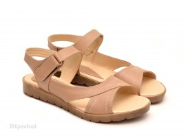 Sandale dama piele naturala bej cu talpa joasa cod S46