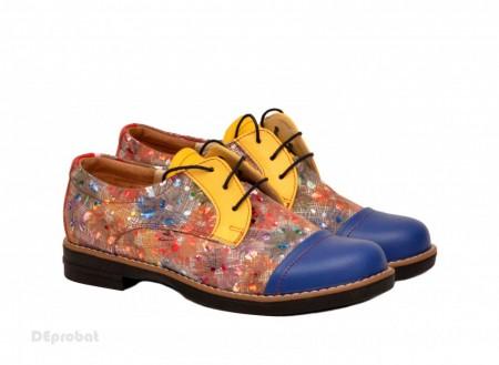 Poze Pantofi dama colorati lucrati manual din piele naturala cod P152 Picasso