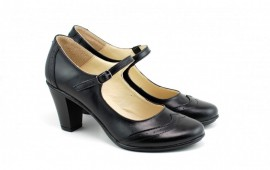 Poze Pantofi dama eleganti din piele naturala negri cu toc de 7 cm cod P117N