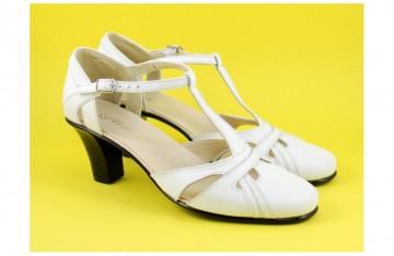Poze Pantofi dama piele naturala albi cu bareta cod P127 - Made in Romania