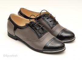 Poze Pantofi dama piele naturala cu siret cod P50G - Made in Romania
