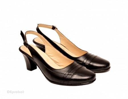 Poze Pantofi negri dama eleganti lucrati manual piele naturala cod P148