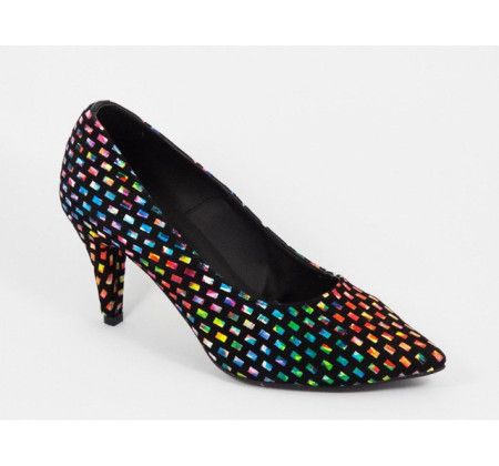 Poze Pantofi stiletto multicolori dama eleganti din piele naturala cod P314
