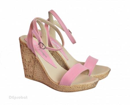 Sandale dama roz cu platforma de 10,5 cm cm din piele naturala cod S53ROZ
