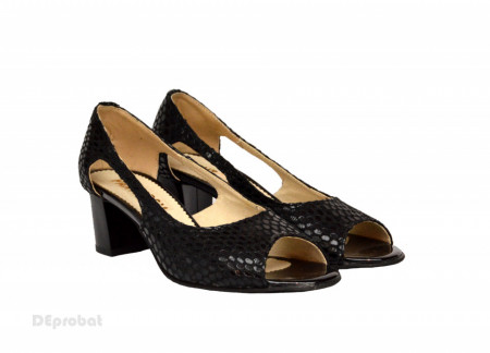 Poze Sandale negri dama din piele naturala toc 5 cm cod S303
