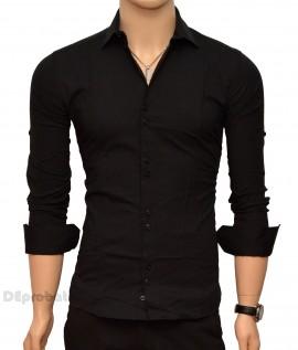 Poze Camasa Slim Fit Neagra bumbac - Camasa neagra casual-eleganta ZR26