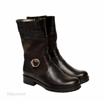 Poze Ghete negre dama casual-elegante din piele naturala cod G46