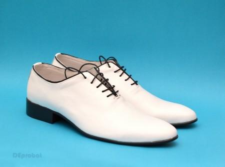 Poze Pantofi albi barbati piele naturala casual-eleganti cod P65ALBN - Editie de LUX