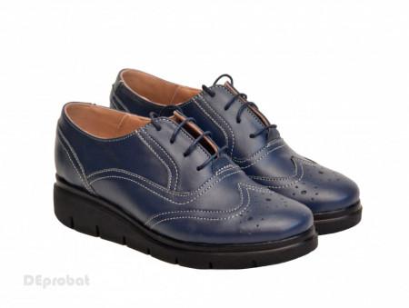 Poze Pantofi dama bleumarin casual-eleganti din piele naturala Oxford Black cod P161BLM