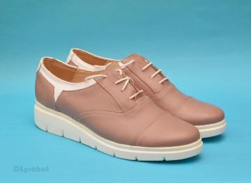 Poze Pantofi dama crem cu alb casual-eleganti din piele naturala cod P141, model Selena