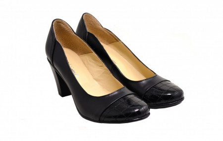 Poze Pantofi dama eleganti negri din piele naturala cod P124 - LICHIDARE STOC 38