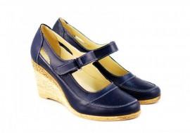 Poze Pantofi dama piele naturala bleumarin cu platforma cod P74BL - Made in Romania