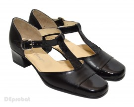 Poze Pantofi dama piele naturala negri cu bareta cod P26
