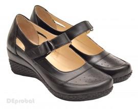 Poze Pantofi dama piele naturala negri cu platforma cod P15 - Made in Romania