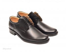 Poze Pantofi negri barbati piele naturala casual-eleganti cu siret cod P70