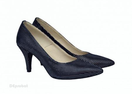 Pantofi stiletto dama eleganti din piele naturala bleumarin cod P331