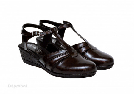Poze Sandale dama negre lacuite din piele naturala cod S56N