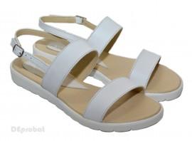 Poze Sandale dama piele naturala albe cu talpa joasa cod S17