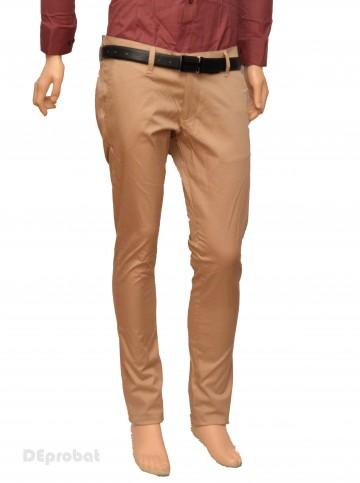 Poze Pantaloni Slim Fit Bej bumbac - Pantaloni barbati casual-eleganti bej PN24