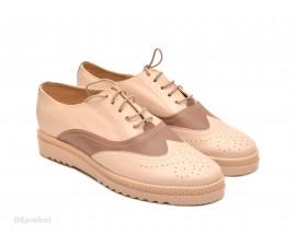 Poze Pantofi dama bej casual-eleganti din piele naturala cod P53