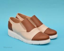 Poze Pantofi dama bej casual-eleganti din piele naturala cu elastic cod P59
