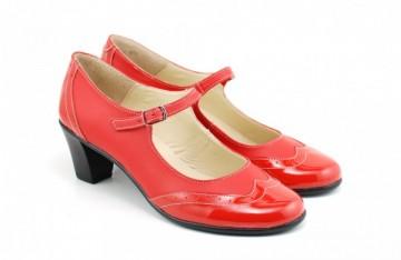 Poze Pantofi dama eleganti din piele naturala rosii cu toc de 5 cm cod P118R