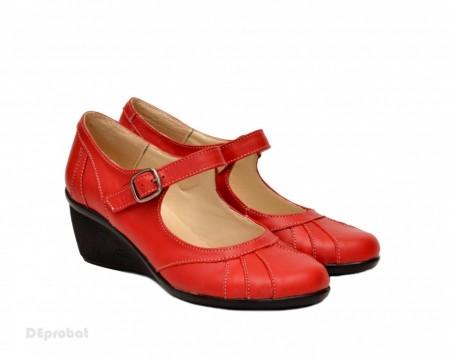 Poze Pantofi dama rosii din piele naturala cu platforma cod P156R - Made in Romania