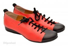 Pantofi dama rosii din piele naturala cu talpa joasa cod P35