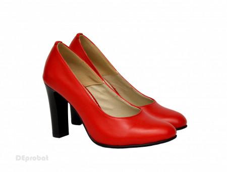 Poze Pantofi dama rosii eleganti din piele naturala cu toc de 9 cm cod P310