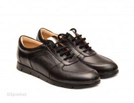 Pantofi dama sport-casual negri din piele naturala cu siret cod P110