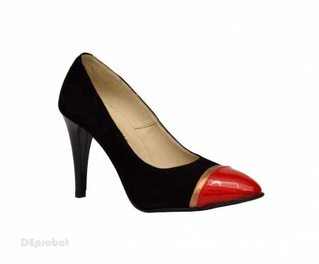Pantofi stiletto dama eleganti din piele naturala velur cod P341