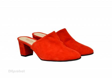 Poze Saboti velur rosii dama eleganti din piele naturala cod SB300R - Editie de LUX