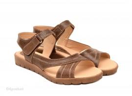 Sandale dama piele naturala maro cu talpa joasa cod S48