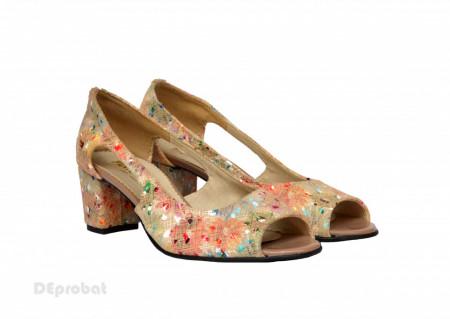 Poze Sandale multicolore dama din piele naturala toc 5 cm cod S301