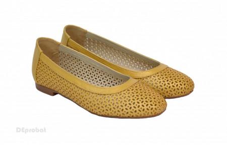 Balerini galben dama din piele naturala cod B36