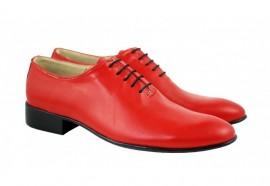 Pantofi barbatesti rosii piele naturala casual-eleganti cod P65R - Editie de LUX