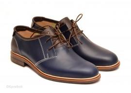Poze Pantofi barbati piele naturala bleumarin casual cu siret cod P122