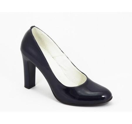 Poze Pantofi dama bleumarin eleganti din piele naturala lacuita cu toc de 9 cm cod P335