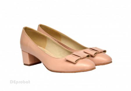 Poze Pantofi dama eleganti cu toc imbracat din piele naturala bej cod P355