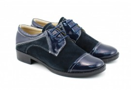 Poze Pantofi dama piele naturala bleumarin cu siret cod P90BL - Made in Romania