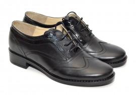 Poze Pantofi dama piele naturala negri cu siret cod P21N - Made in Romania