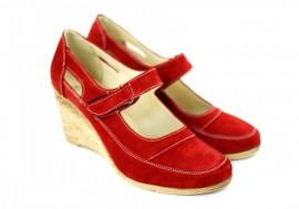 Poze Pantofi dama piele naturala velur rosii cu platforma cod P74RVEL - Made in Romania