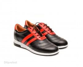 Pantofi sport dama piele naturala negru cu rosu cod P79 - Made in Romania