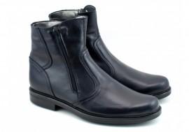 Poze Ghete barbati piele naturala Negre casual-elegante cu fermoar cod G32N